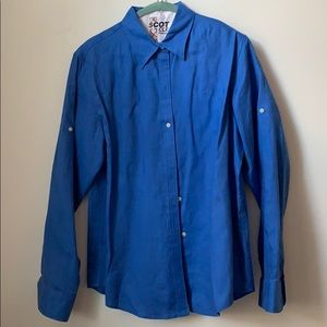 Lauren Ralph Lauren Linen Button Down Blue Medium